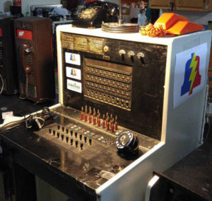 """""""This is my 1940s Western Electric 551 Hotel switchboard. Has 5 Co trunks and 30 stations. You can dial out on it via Google voice and soon it'll be connected to asterisk. Cactus Cactus"""" -Steve"""