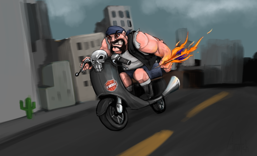 """I thought the live show with that furious biker was so funny I sketched out an image for you. Feel free to use it when you post a video with the call. If I can free up the time I'll do more when I'm inspired by your calls. Thanks for keeping me entertained! -Johnny"""